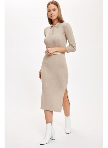 DeFacto Gömlek Yaka Düğmeli Triko Elbise Bej